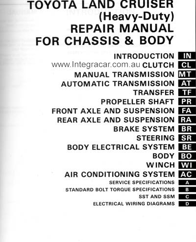 landcruiser chassis repair manual body genuine