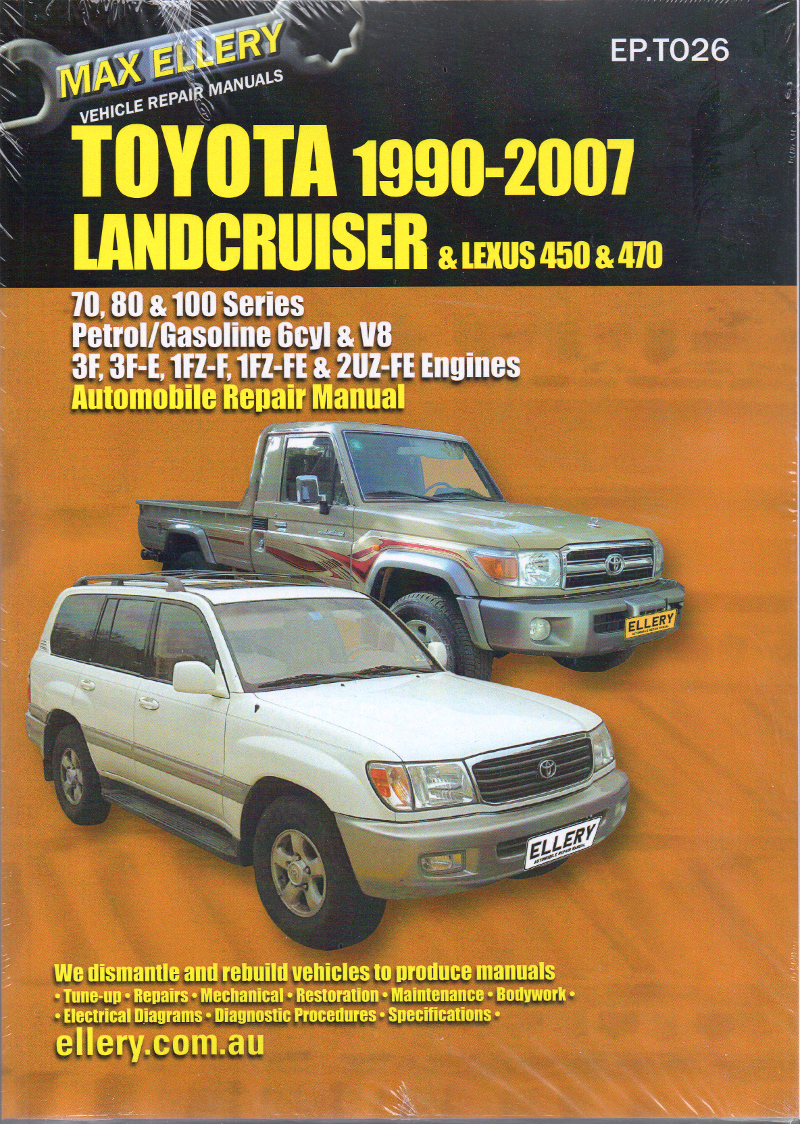 Toyota Landcruiser 1990 2007 Petrol 70 80 100 Series Ellery Repair Land Cruiser Manual New