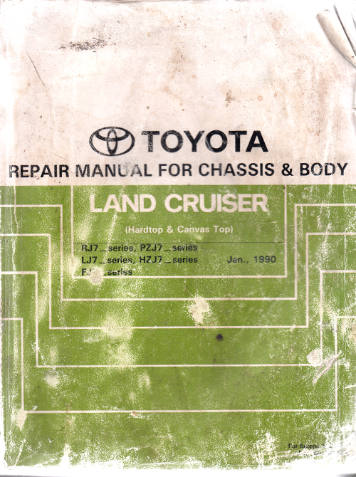 Toyota Landcruiser RJ70 LJ70 PZJ70 HZJ70 FJ70 Chassis/Body genuine repair manual USED